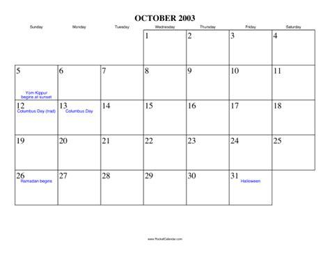 October 2003 Calendar October 2003 Calendar