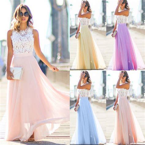 long chiffon formal evening ball gown prom dress bridesmaid party uk women long lace chiffon evening formal party ball gown