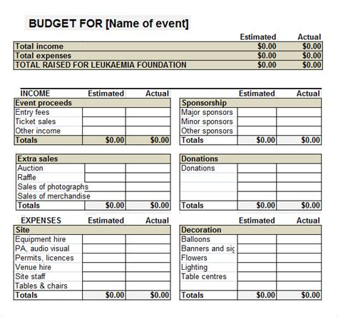 fundraising template sle event budget template 6 free documents