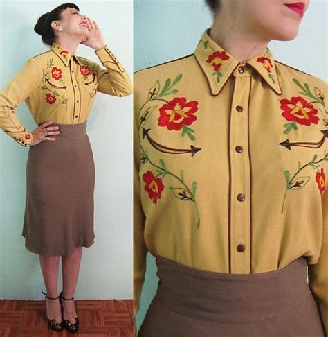 40s xl western wear embroidered blouse gabardine