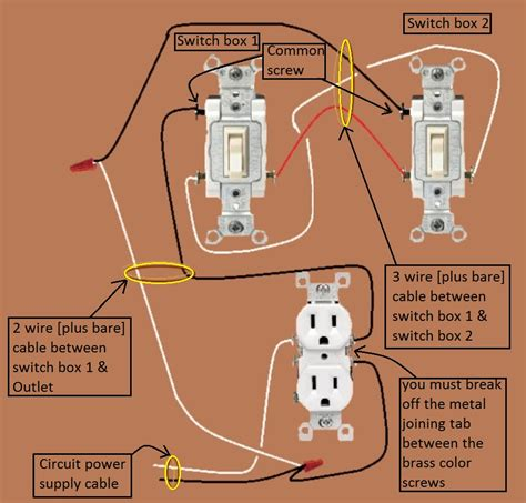 wiring a 3 way switch with outlets wiring diagram not