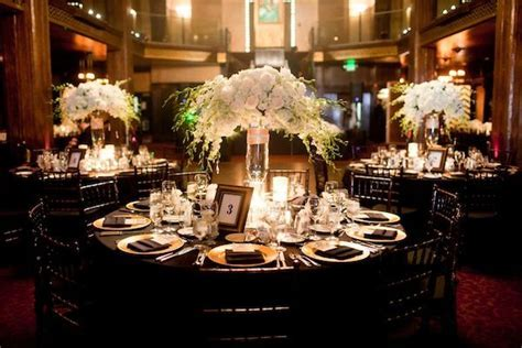 Elegant Gold   Black Wedding   Floral arrangements