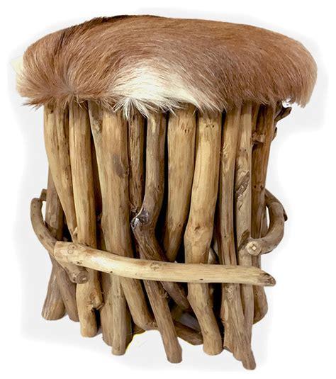 teak branch stool with fur seat rustic vanity stools