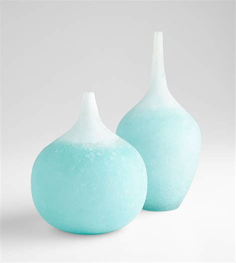 Cyan Vases frosted aqua small droplet vase by cyan design