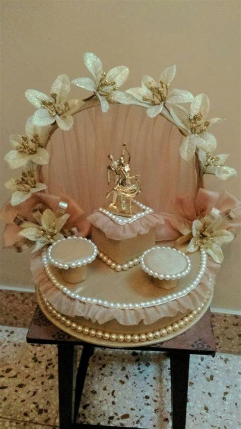 engagement ring platter ribbon flower