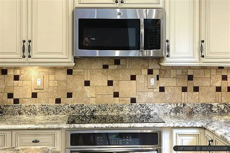 Kitchen Cabinet Backsplash Ideas by Beige Cabinet Brown Travertine Kitchen Cabinet