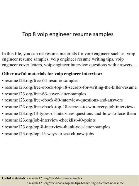Voip Engineer Sle Resume by Top 8 Voip Engineer Resume Sles