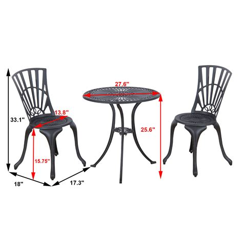Black Bistro Table And Chairs 3pc Cast Aluminum Patio Bistro Dining Set Outdoor Furniture Chairs Table Black Ebay