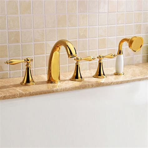 bathtub faucet set monaco luxury polished gold solid brass bathtub faucet set