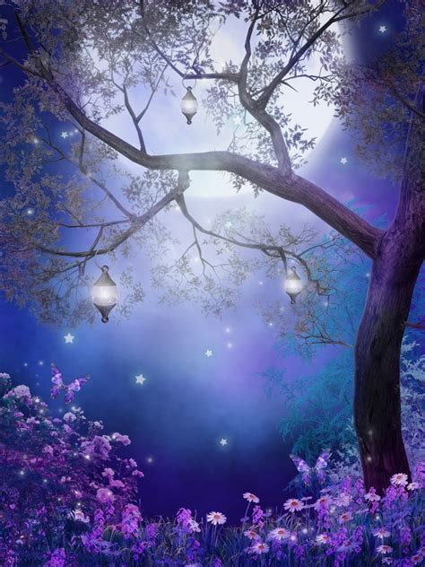 xft tree branch lanterns night moon sky stars