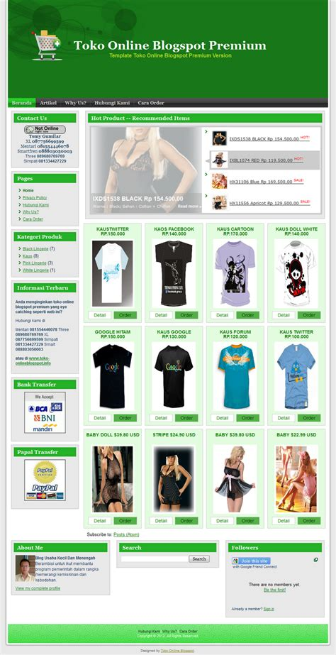 template toko online professional template toko online