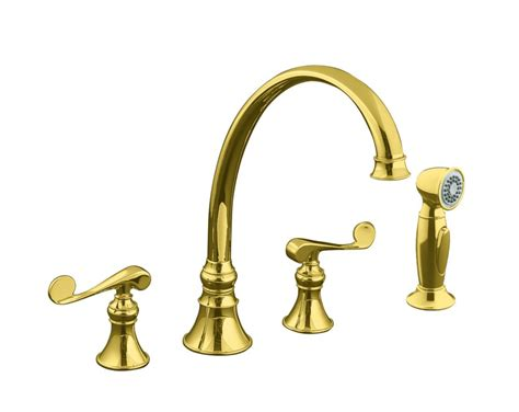 polished brass kitchen faucet kohler revival kitchen sink faucet in vibrant polished