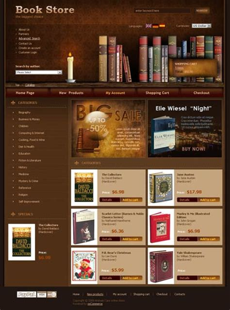html templates for books book store oscommerce template id 300110265 from