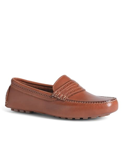 brothers shoes brothers burnished calfskin driver shoes in brown