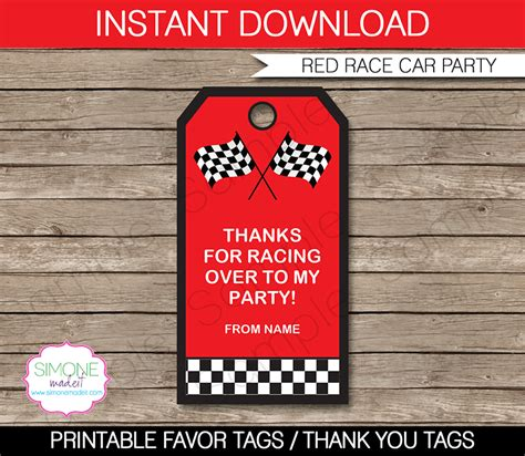 Thank You Card Template For Birthday Giveaways by Race Car Favor Tags Thank You Tags