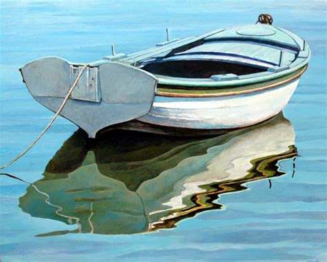 boat art realistic row boat in the water painting sailing