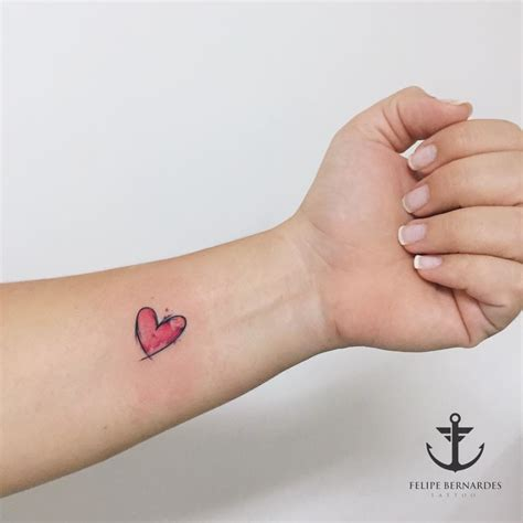watercolor little heart tattoo heart tattoos ideas