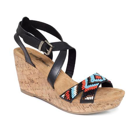 minetonka sandals minnetonka zoey platform wedge sandals in black black