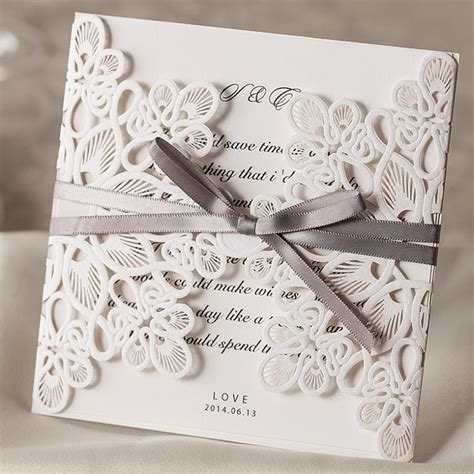 25pcs White Wedding Invitations Card Laser Cut Wedding