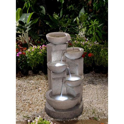 multi tier bowls water fountain  led light