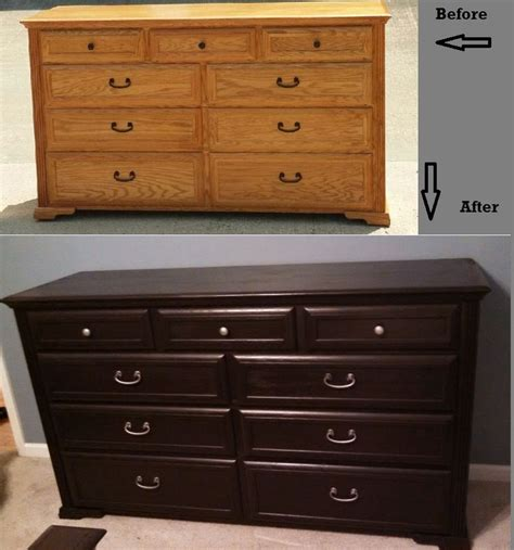 dresser before and after using rustoleum furniture transformation kona drawer pulls spray