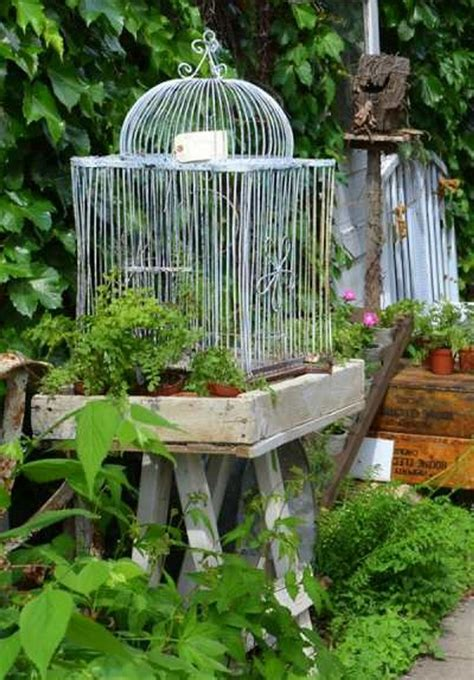 Bird Garden Decor Repurposed Bird Cages Outdoor Decorating Recycled Things