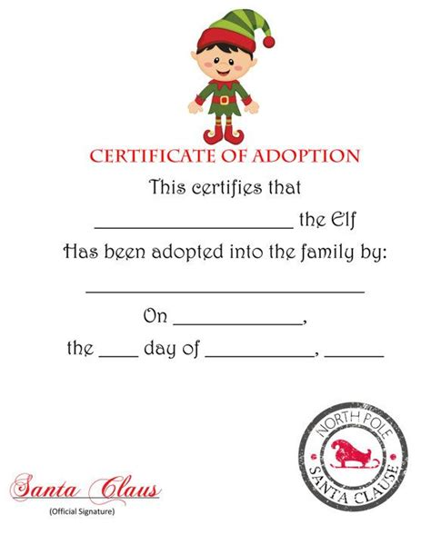 Free Printable Elf Adoption Certificate | free elf on the shelf adoption certificate printable il