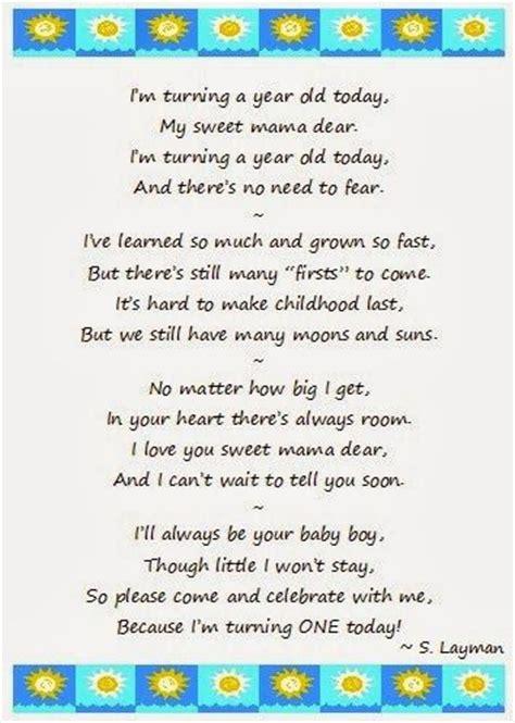 Turning 1 Birthday Quotes First Birthday Poem I M Turning One Today Mama S