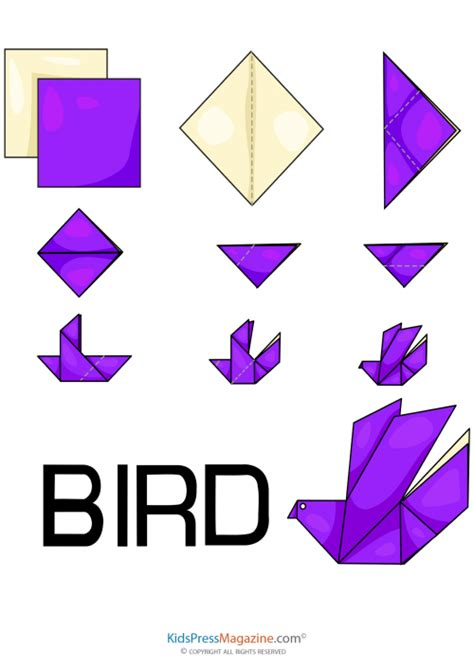 Paper Folding Simple - easy origami bird kidspressmagazine