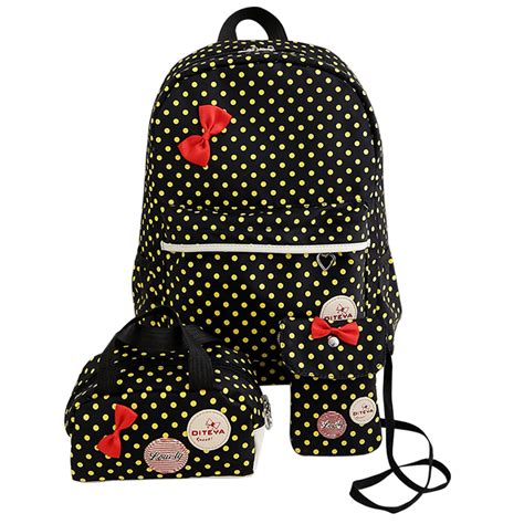 Backpack 3 Student Book 3pcs set dot canvas printing backpack student book bags with purse laptop bag