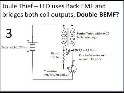 joule thief without inductor joule thief using bemf
