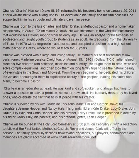 word obituary template 11 obituary templates sle templates