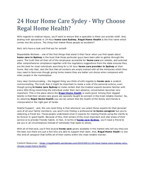 24 hour home care sydney why choose regal home health