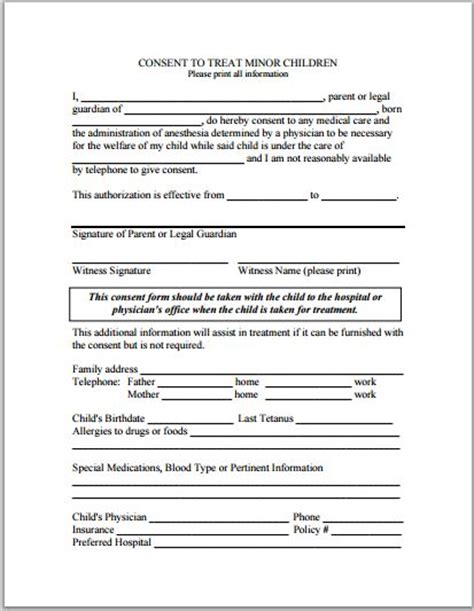 sle child consent forms templates printable medical