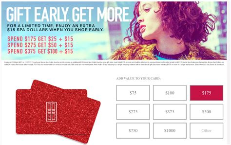 Red Door Spa Gift Card - expired net 120 for 215 spa credit with stacking offers frequent miler