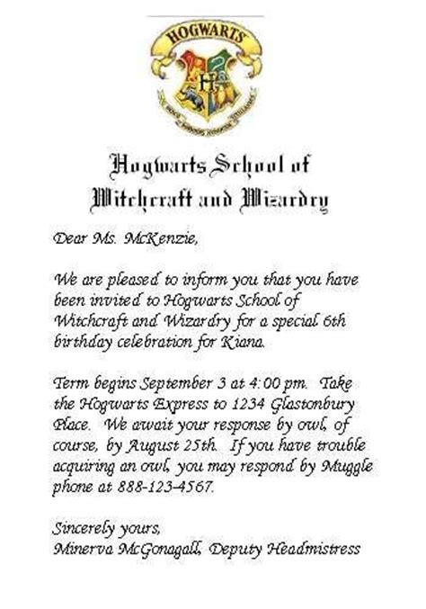 Harry Potter Acceptance Letter Wording Hogwarts Invitation Aaliyah S 10th Birthday