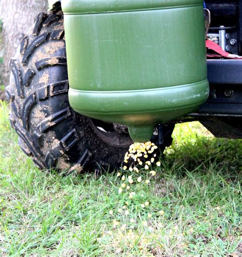 Corn Feeders For Deer Atv Gravity Feeder Lays Only A Ribbon Of Deer Corn
