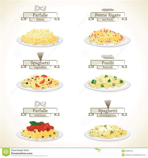 pasta dishes stock vector image 50303134