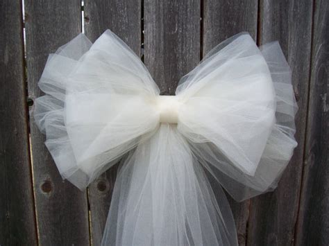 Church Pew Bows Aisle Decorations by White Tulle Pew Bow Ivory Pew Bow Tulle Church Pew