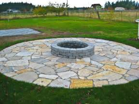 fire pit with flagstone patio rustic landscape
