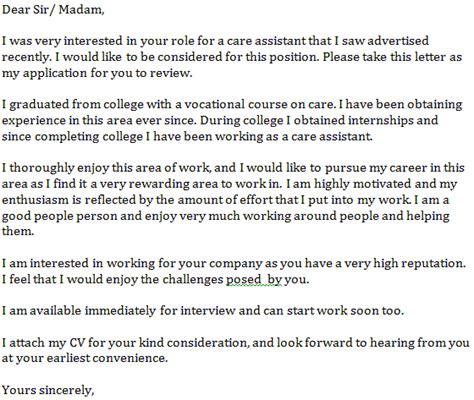 cover letter for care assistant care assistant cover letter exle learnist org