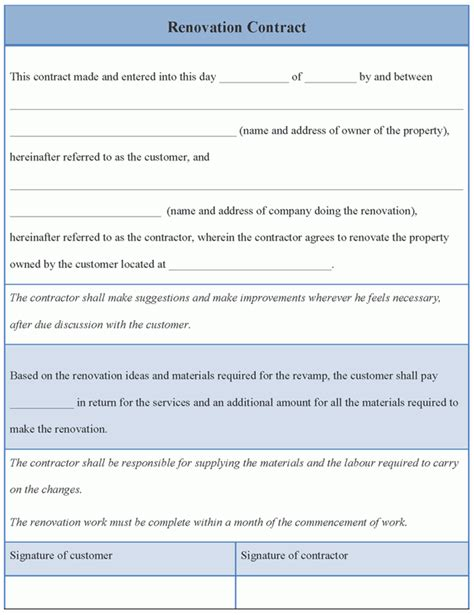 contract template for renovation exle of renovation