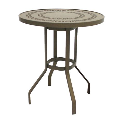 Patio Table Height Marco Island 36 In Brownstone Commercial Aluminum Bar Height Patio Dining Table B36phj S