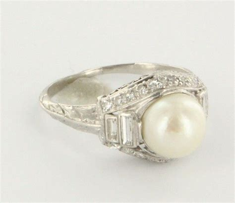 deco pearl ring vintage deco pearl ring