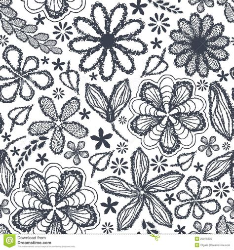 hand drawn flower pattern seamless shabby floral hand drawn curly pattern royalty