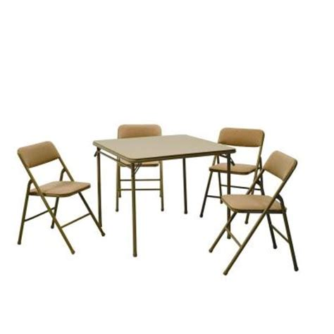cosco 5 folding table and chair set in beige mist