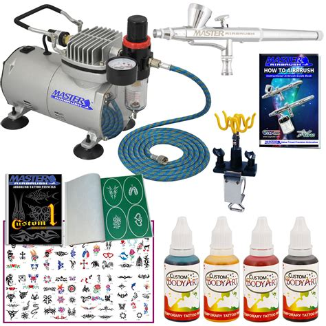 temporary tattoo kit deluxe airbrush kit 4 comp hose airbrush ink stencil
