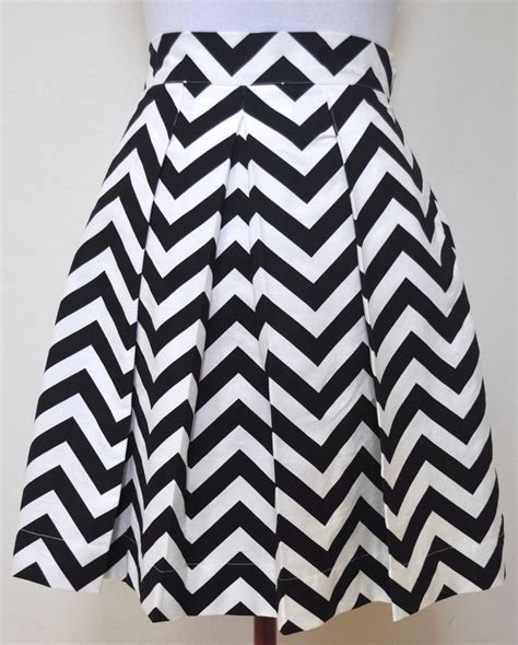black and white chevron striped skirt gathered