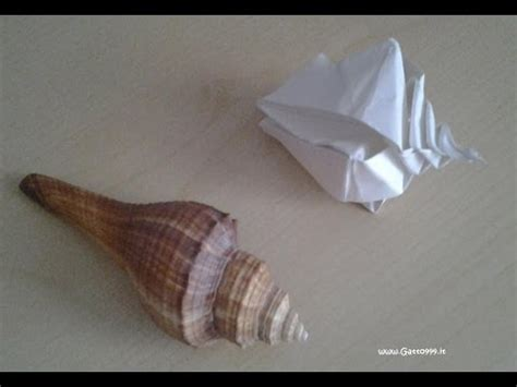 How To Make Paper Shells - origami conchiglia shell conquille gatto999 it