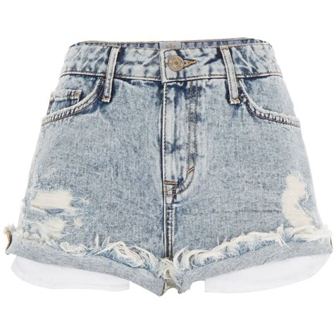 light wash distressed shorts river island light acid wash distressed denim shorts in
